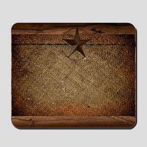 burlap barn wood texas star  Mousepad